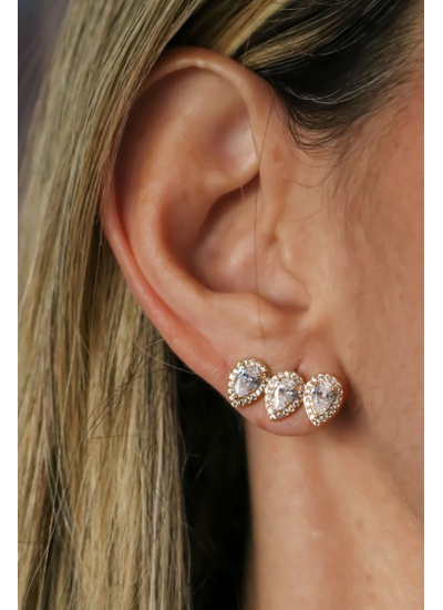 Brinco Ear Cuff Cristal No Banho de Ouro 18K - BR2... - Dillu Jóias