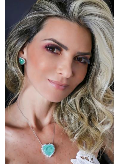 Colar Coração M Esmeralda Colombiana toda volta cr... - Dillu Jóias