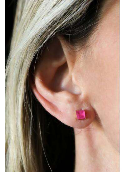 Brinco Quadrado Pink No banho de Ouro 18K - BR904... - Dillu Jóias