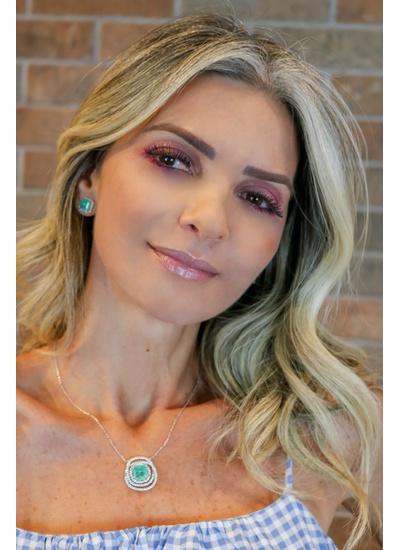 Colar Esmeralda Colombiana Toda volta cravejada co... - Dillu Jóias
