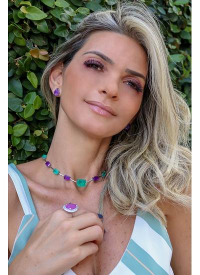 Chocker Quadrada Esmeralda colombiana, Tanzânita n... - Dillu Jóias