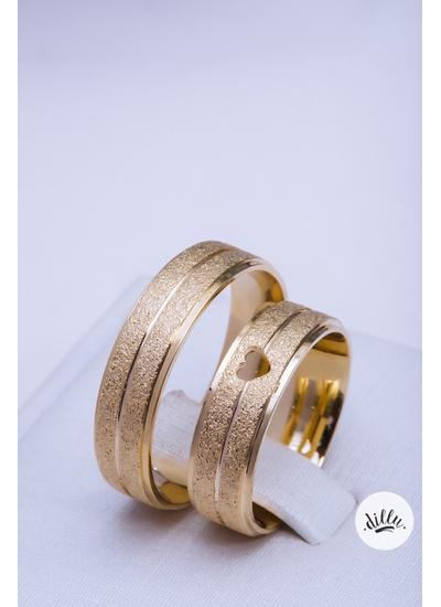 Aliança luxo, ouro 18k. Detalhe coração vazado, vo... - Dillu Jóias