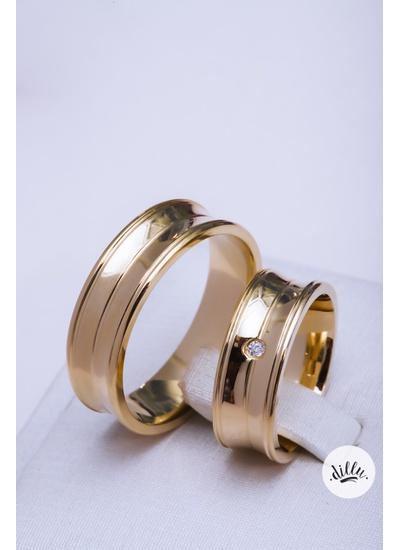 Aliança luxo, ouro 18k. Detalhe cônico, bordas cha... - Dillu Jóias