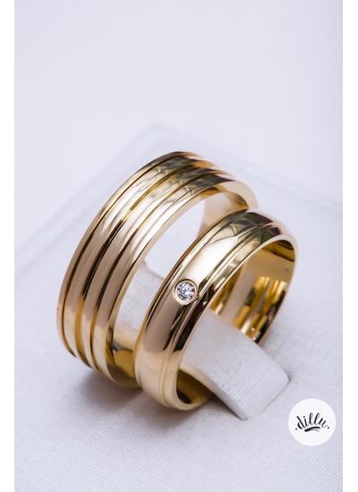 Aliança clássica moderna, ouro 18k. Volta superior... - Dillu Jóias