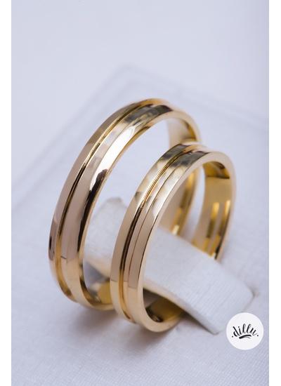 Aliança clássica tradicional ouro 18k com detalhes... - Dillu Jóias