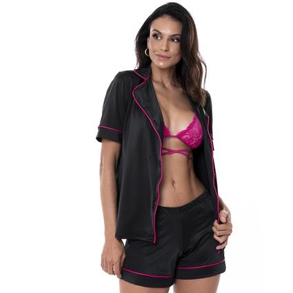 Pijama Homewear Colors Short e Camisa Preto/Pink - TRITUÊ