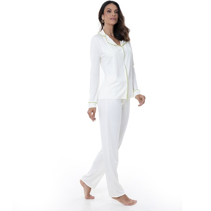 Pijama Homewear Colors Calça e Camisa Off/Lima - TRITUÊ