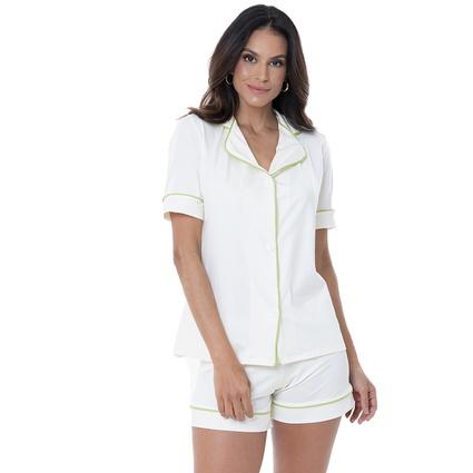 Pijama Homewear Colors Short e Camisa Off/Lima - TRITUÊ