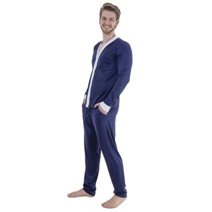 Pijama Homewear H.A. longo marinho/branco c/ botão - TRITUÊ
