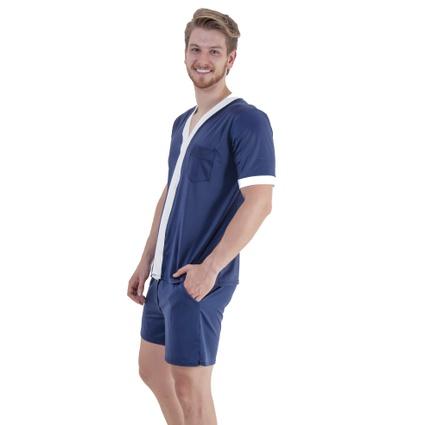 Pijama Homewear H.A. curto marinho/branco c/ botão - TRITUÊ
