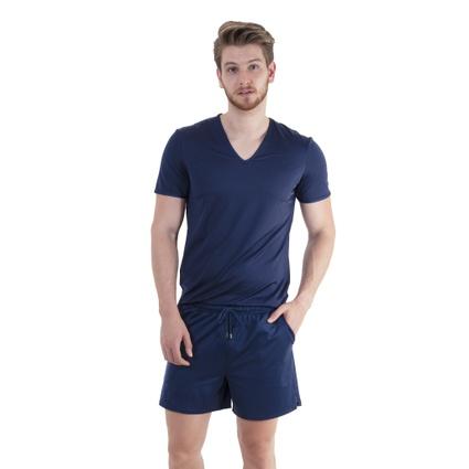 Pijama Homewear H.A. curto marinho gola V - TRITUÊ