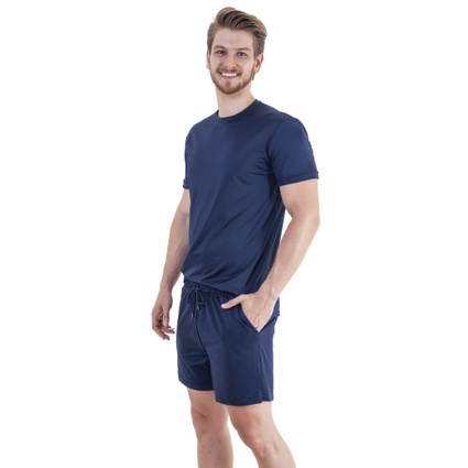 Pijama Homewear H.A. curto marinho gola redonda - TRITUÊ