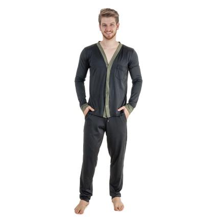 Pijama Homewear H.A. longo preto/verde c/ botão - TRITUÊ