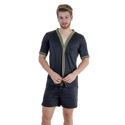 Pijama Homewear H.A. curto preto/verde c/ botão - TRITUÊ
