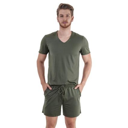 Pijama Homewear H.A. curto militar gola V - TRITUÊ