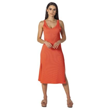 Dress Midi coral com fenda - TRITUÊ