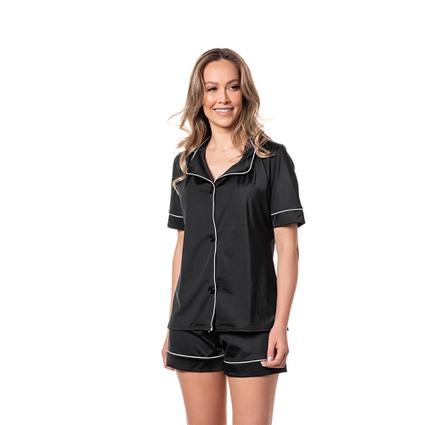 Pijama Homewear Short e Camisa Preto - TRITUÊ