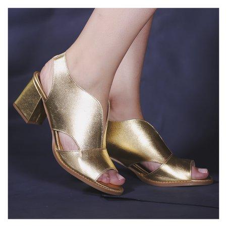 Sandália Salto Grosso Ouro- 177-02 - Universo Bubblē