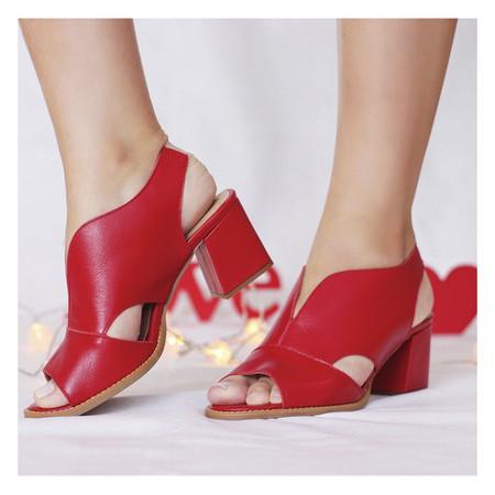 Sandália Salto Grosso Vermelha- 177-02 - Universo Bubblē