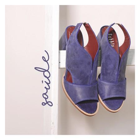 Sandalia Salto Grosso Confortável Veneza Azul- 177... - Universo Bubblē