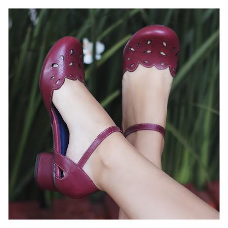 Sapato Boneca Salto Grosso - Couro Vinho- 600-28 - Universo Bubblē