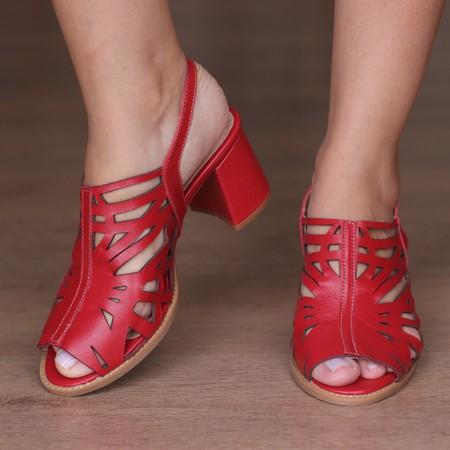 Sandália Salto Grosso Confortável Vermelho- 177-13... - Universo Bubblē