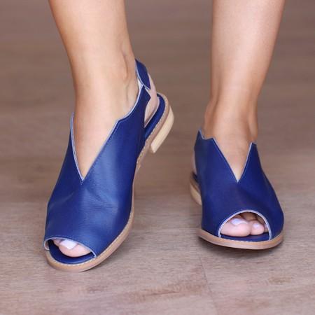 Sandália Salto Baixo Azul Anil- 842-12 - Universo Bubblē