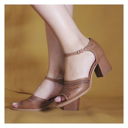 Sandalia Salto Grosso Caramelo- 177-10 - Universo Bubblē