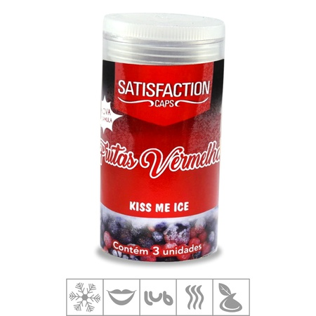 Bolinha Beijável Kiss Me Satisfaction Caps 3un (ST435) - Frutas Vermelhas
