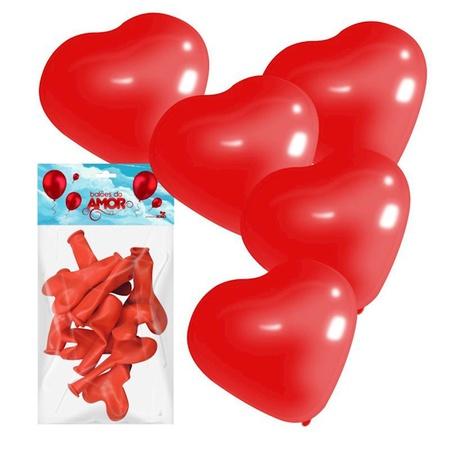 Balões do Amor Formato Coração 10un (16372) - Vermelho