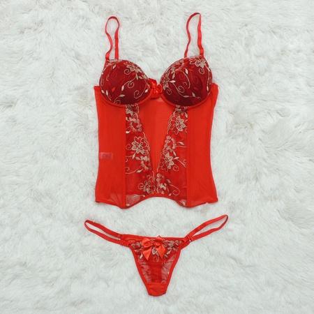 Espartilho Bordado (CF507) - Vermelho C/ Branco