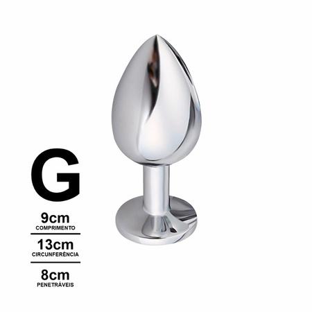Plug Anal Metálico Pedra Formato de Coração VP(PL009G) - Padrão
