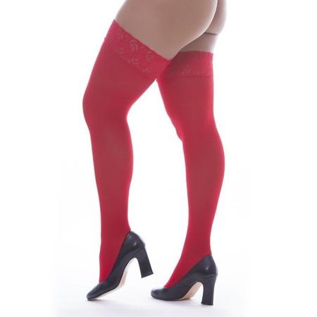 Meia Fina 7/8 Com Renda Perrutextil (PR015) - Vermelho