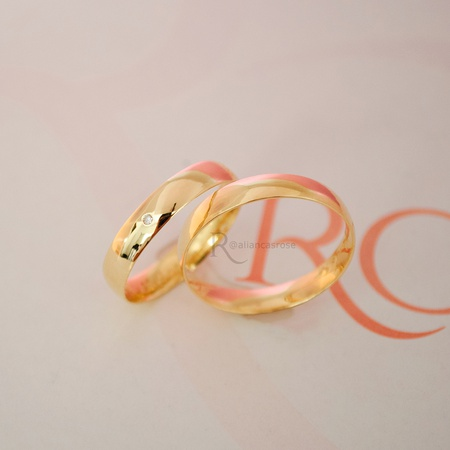 Alianças Ouro 18k 4mm 4g Abaulada Modelo Classic - Rosê