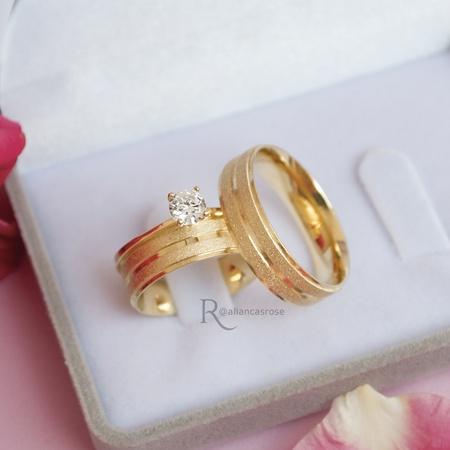 Combo Aliança de Ouro 18k 6mm 6g Modelo Athenas + Solitário Mon Amour - Rosê