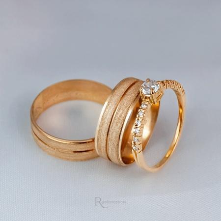 Alianças Ouro 18K 6mm 6 Gramas Athenas e Solitário Mi Amour - Rosê