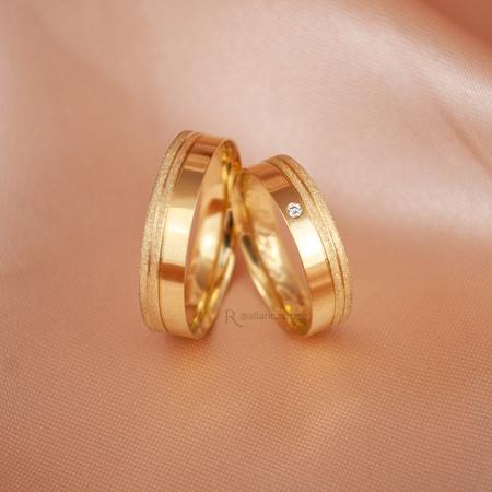 Alianças de Ouro 18K 5mm 5 gramas Modelo Caribe - Rosê