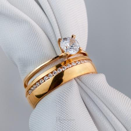 Alianças Ouro 18k 5mm 7g Cinderela e Mon Amour - Rosê