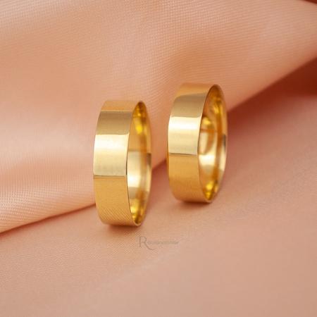 Aliança de Ouro 18k 5mm 5 gramas Modelo Coimbra - Rosê