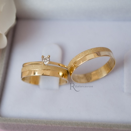 Combo Aliança de Ouro 18K 4mm 4 gramas Modelo Pegasus + Solitário Ciel Ouro 18k - Rosê