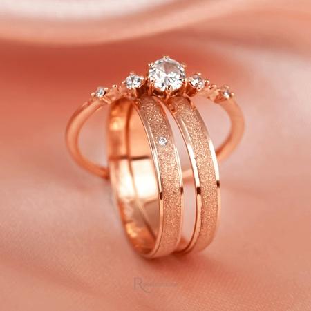 Combo Alianças Ouro Rosé 18k 3mm 3 gramas Fiora e Elanor - Rosê