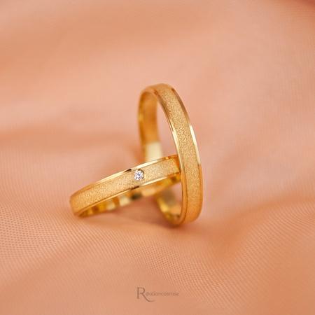 Aliança de Ouro 18k 3mm 3 gramas Diamantada Modelo Fiora - Rosê