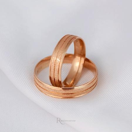Aliança de Ouro 18k 4mm 4 gramas Modelo Galês - Rosê