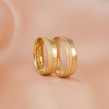 Aliança de Ouro 18K 6mm 6 gramas Modelo Grécia - Rosê