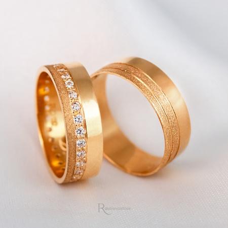 Alianças de Ouro 18K 6mm 8 gramas Modelo Jade - Rosê