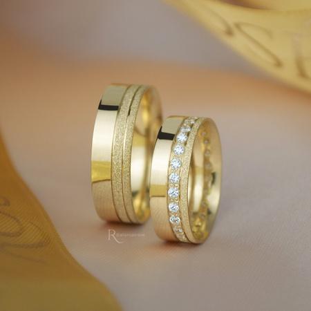 Alianças de Ouro 18K 6mm 7 gramas Modelo Jade - Rosê