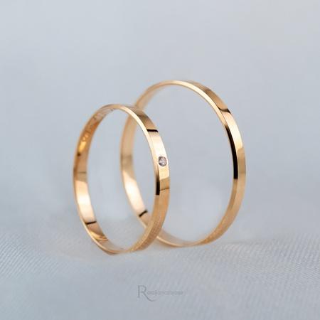 Aliança Ouro 18k 2mm 2 gramas Chanfrada Lucy - Rosê