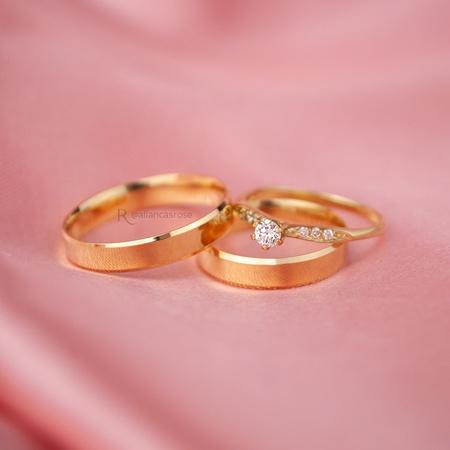Combo Alianças Lucy 4mm + Saron ouro 18k - Rosê