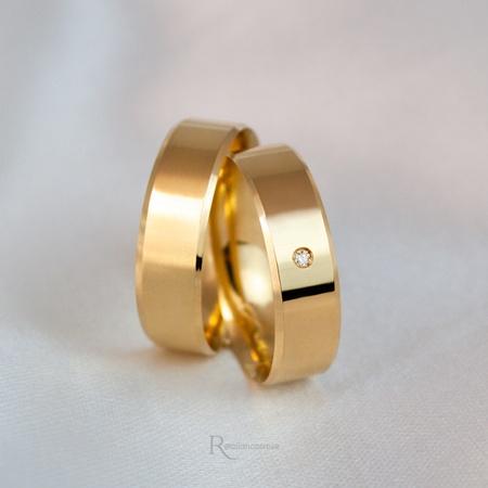 Aliança em Ouro 18k 5mm 5 gramas Chanfrada Modelo Lucy - Rosê