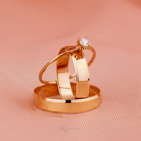 Combo Alianças Ouro 18k 4mm 4 gramas Modelo Lucy e Solitário Ciel - Rosê